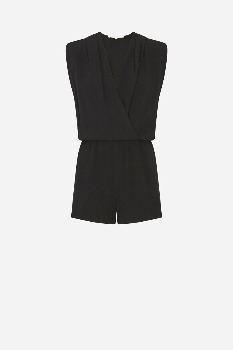Light satin-backed crepe Ibrah Playsuit Black/BURGUNDY alt_par_VB