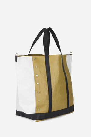 Large Waxed Linen and Sequins Cabas Tote Bag