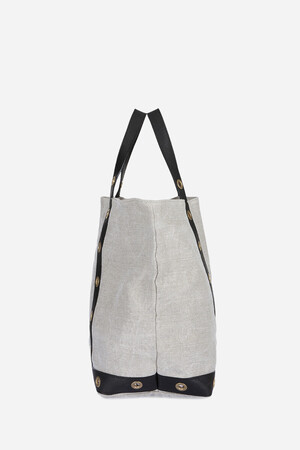 Medium + Linen and Vegetal Leather Cabas Tote Bag with eyelets