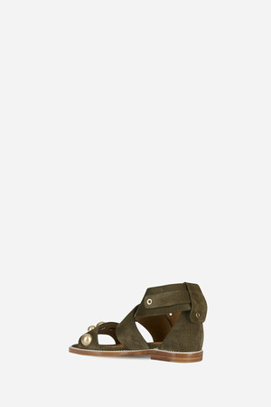 Suede Flat Leather Sandals
