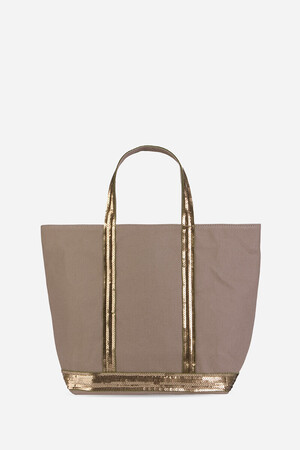Medium Canvas and Sequins Cabas Tote Bag