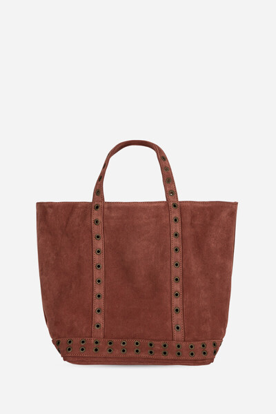 Medium Velvet Leather Cabas Tote Bag with Eyelets Vanessa Bruno