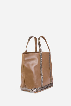 Medium Leather and Sequins Cabas Tote Bag