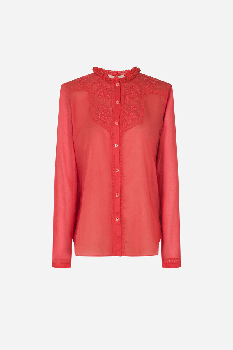Cotton Iranka Shirt IVORY/POPPY RED/Powder Pink alt_par_VB