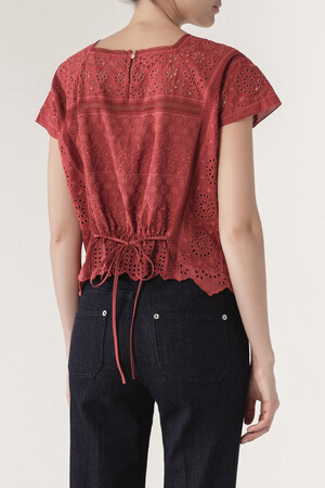 Embroidered Cotton, Linen and Ramie Illario Blouse