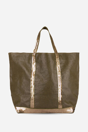 Medium + Waxed Linen and Sequins Cabas Tote Bag