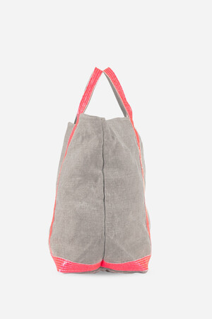 Large Linen and Sequins Cabas Tote Bag