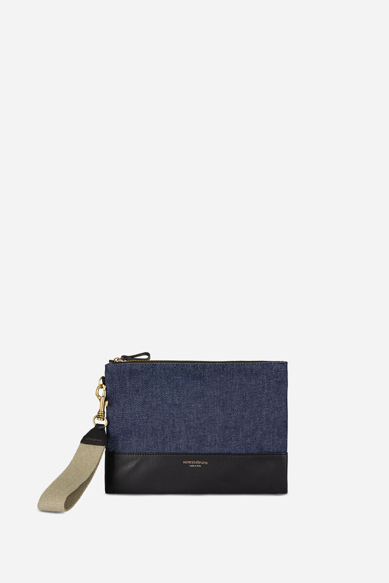 Waxed Linen and Denim Flat Pouch  alt_par_VB
