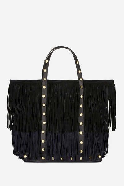 Medium + Calfskin Leather Cabas Tote Bag with fringes