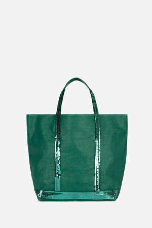 Medium Waxed Linen and Sequins Cabas Tote Bag