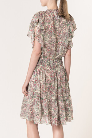 Georgette exotic flowers printed Luz Dress