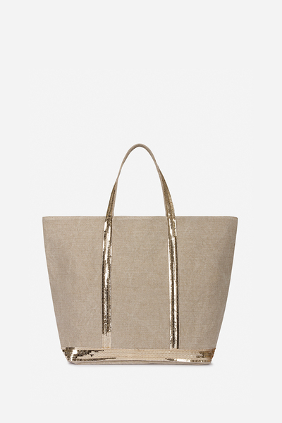 Medium + Linen And Sequins Cabas Tote Bag