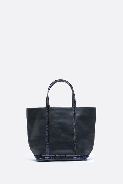 Small Leather and Sequins Cabas Tote Bag
