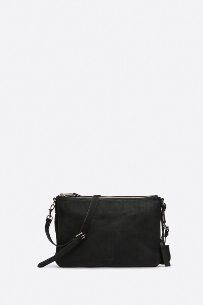Large Calfskin Leather 2-Zip Lune Bag