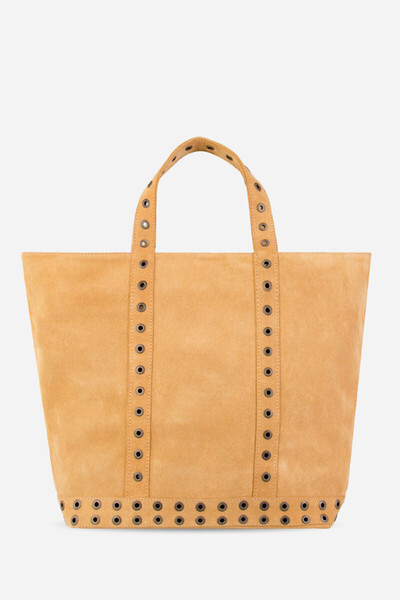 Medium + Velvet Leather Cabas Tote Bag With Eyelets