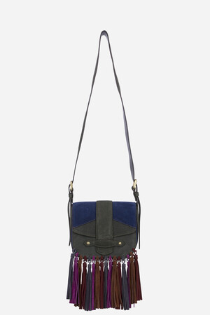 Small Leather Gemma Flap Bag with multicoloured fringes